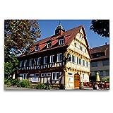 CALVENDO Tela in Tessuto di Alta qualità, 120 cm x 80 cm Orizzontale, Vecchia casa di Rathaus in Case di Peluche, Immagine su Telaio, Stampa su Tela in Baden-Württemberg Orte