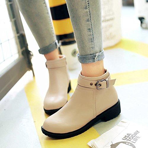 Mee Shoes Damen modern chunky heel Reißverschluss Schnalle-Dekoration Anklestiefel Beige