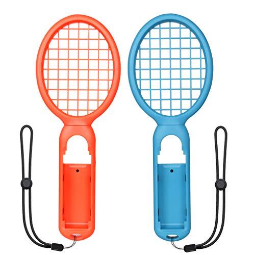 Tennisschläger für Nintendo Schalter, uthcracy Tennisschläger für n-switch joy-con Controller, Zubehör für Nintendo Schalter Mario Tennis Ace Spiel 2Packungen (blau + rot)