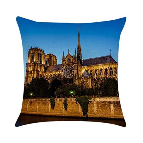 Notre Dame de Paris Kissenbezug Sofa Auto Taille werfen Lendenkissen Rückenkissen Kissenhülle Kissen Fall Home Schlafsaal Bettwäsche Decor Pillow Cover Andenken 45cm x45cm - Stauraum-insel