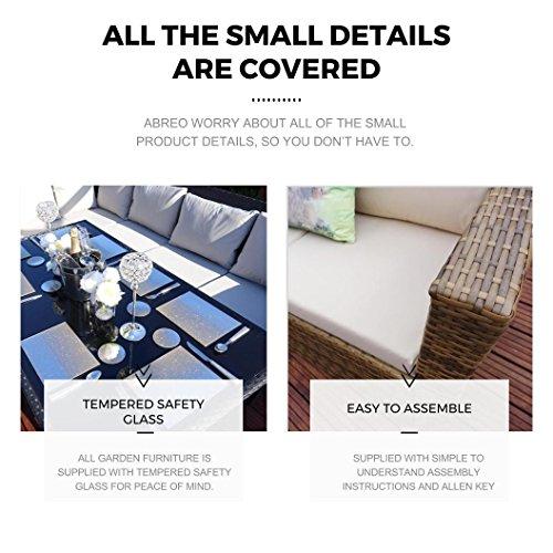Brown Rattan Wicker Weave Garden Furniture Sofa Set with Outdoor Cover