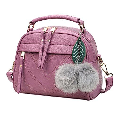 LHWY Frauen Schulter Handtaschen Tote Hobo Reißverschluss Taschen Niedlichen Pelz Haarballen Schmuck für Schule Teen Mädchen Lila