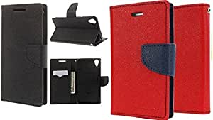 Generic 2 Mercury Dairy Flip Cover Combo For Samsung Galaxy J5 Black With Red