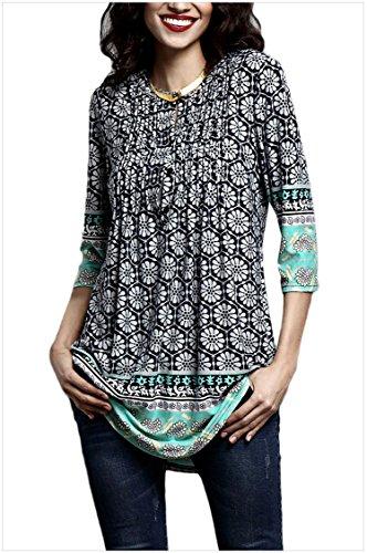 Minasan Sommer Frauen Elegant Vintage Blumenmuster 3/4 ärmel T-Shirt Rundhals V-Ausschnitt Falten Langes Bluse Oberteile mit Taste S