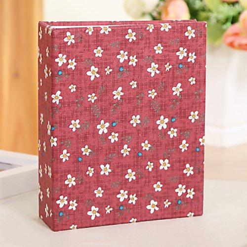 Jia HU Floral vintage Album photo Slip en tenue 100 pochettes Photo de 15,2 x 10,2 cm de mariage albums anniversaire livres GIF Red