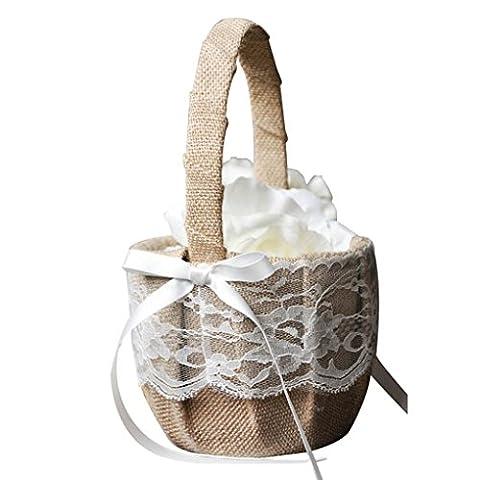 LUFA Topwedding Rétro dentelle Bow panier de mariage Flower Girl Basket with Bows