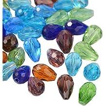 PandaHall-Mixta Cadena de abalorios de cristal tallado, Gota, 11x8mm, agujero: 1 mm
