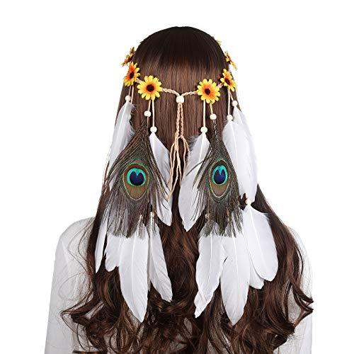 AWAYTR Feder Kopfschmuck Boho Hippie Stirnband - Fancy Federschmuck Böhmische Kopfbedeckung Quaste für Damen Mädchen Karneval Kopfschmuck (Sonnenblume-Gelb) -