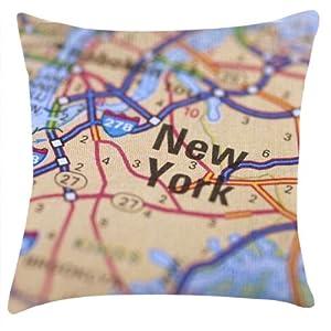 New York Mapa Impresión cojín 45,7x 45,7cm