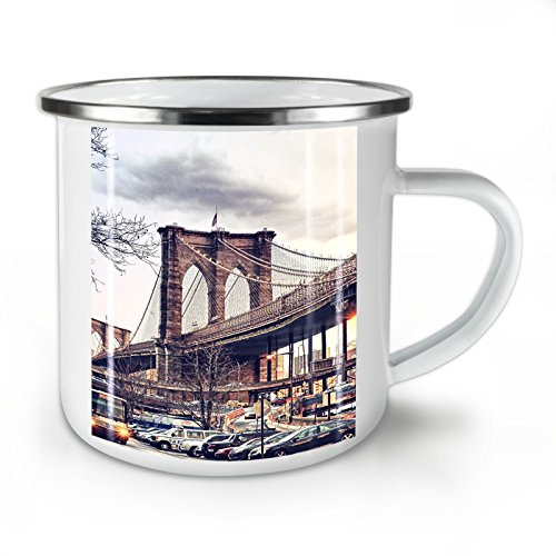 Wellcoda Brooklyn Brücke USA Emaille-Becher, York - 10 Unzen-Tasse - Kräftiger, griffiger Griff, Zweiseitiger Druck, Ideal für Camping und Outdoor