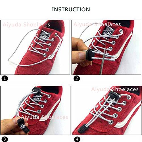 aiyuda 2Paar Runner 's Reflektierende Elastic keine Schuhe binden Befestigung Stretch Lace Lock für Running Hiking Trekking schwarz - schwarz