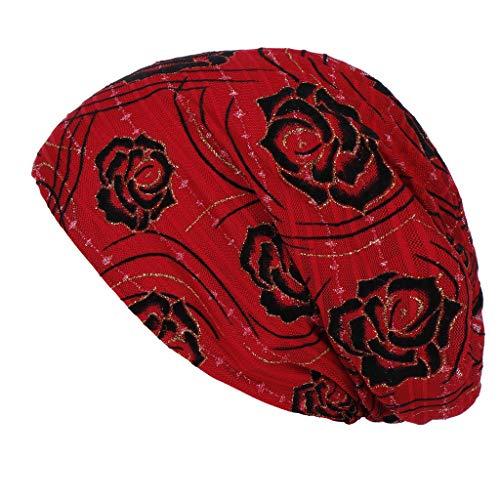 iHAZA Frauen Indien Muslimischen Hut Floral Lace Ruffle Chemo Beanie Turban Wrap Cap - Floral Damen Hut Charme