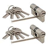 2 x Zylinderschloss gleichschließend 70 mm 35x35 N+G mit 10 Wende-Schlüssel mm und Not- und Gefahrenfunktion
