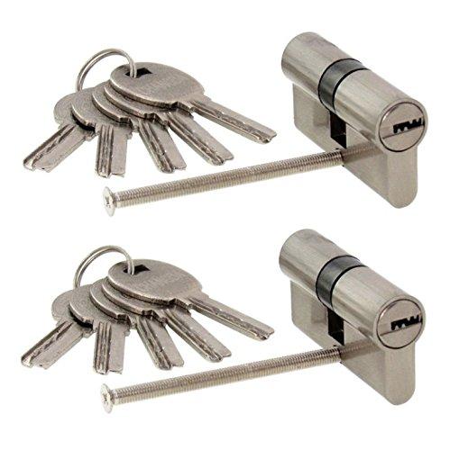 2 x Zylinderschloss gleichschließend 70 mm mit jeweils 5 Wendeschlüssel für ein Schloss 35x35 mm mit Not und Gefahrfunktion