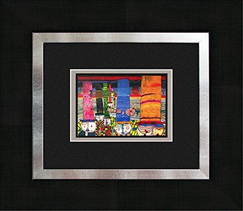 artissimo, Kunstdruck gerahmt, 45x40cm, AG3086, Friedensreich Hundertwasser: Hüte Tragen, Bild, Wandbild, Poster, Wanddekoration