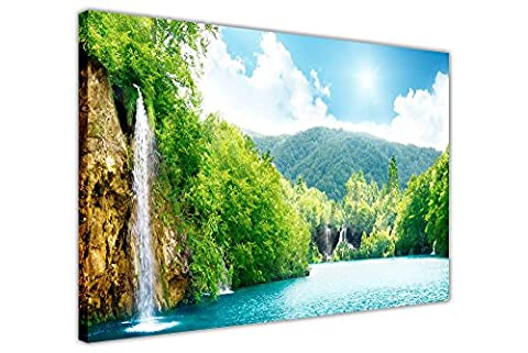 WATERFALL AND FOREST LANDSCAPE PRINTS CANVAS WALL ART PICTURES HAND