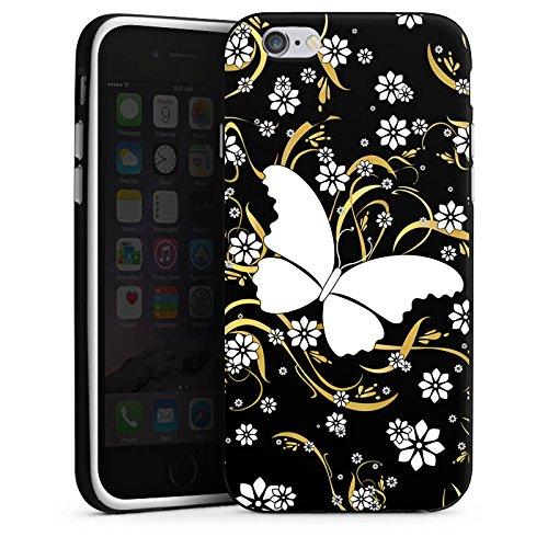 Apple iPhone 4 Housse Étui Silicone Coque Protection Papillon Fleur Fleur Housse en silicone noir / blanc