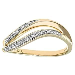 Naava 9 ct Yellow Gold Diamond Pave Set Double Wave Half Eternity Ring
