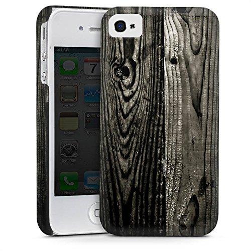 Apple iPhone 5 Housse Outdoor Étui militaire Coque Look ébène Bois noir Paroi en bois Cas Premium mat