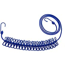 Lantelme 6100recubierto de Cuerda para tender flexible con 20grapas–Extensible 180–360cm–Práctico también para viaje–vacaciones–Outdoor–Camping