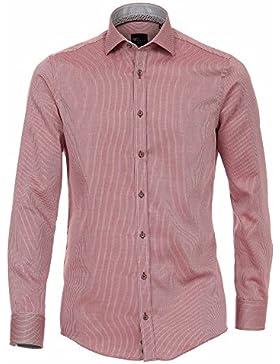 Venti Slim Fit Hemd Extra Langer Arm 72 cm Rot Strukturiert