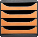 Exacompta Big-Box Classic Mausgrau/Mandarine mit 4 Schubladen/Schubladenbox im Hochformat für mehr Platz auf dem Schreibtisch