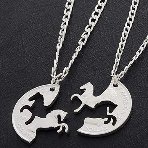 DYKJ 2 Unid Caballos Corriendo Puzzle Moneda Encanto Animal Mejor Amigo Pareja Amantes del Amor Regalos Amistad Collares Pendientes Mujeres Hombres