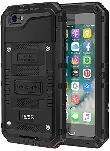 seacosmo iPhone 5S wasserdichte Hülle, Militärstandard Schutzhülle mit Eingebautem Displayschutz Haltbarkeit stoßfest Handyhülle für iPhone 5 SE, Schwarz