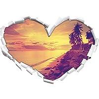 cabine meravigliose a forma di cuore in mare l'adesivo formato
