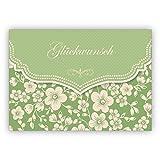 Grüne Vintage Glückwunschkarte mit Retro Kirschblüten Muster zur Hochzeit, Taufe, Geburt, Examen etc: Glückwunsch