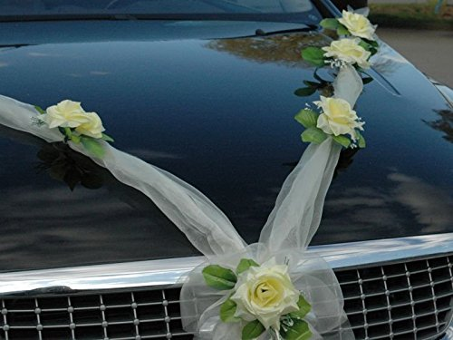 Organza M Auto Schmuck Braut Paar Rose Deko Dekoration Hochzeit Car Auto Wedding Deko Girlande PKW...