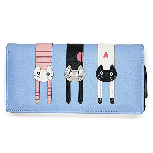 Portafoglio Donna Grande Pelle Cute Cat Borsa Long Wallet- Blue