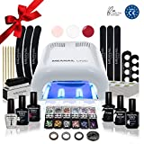 Nagelstudio Set komplett • Meanail® Paris Deluxe XXL • Maniküre + Pediküre • inkl. Naildesign Zubehör (30-teilig) • 1 UV LED Lampe für Nägel weiß • UV GEL • Nailart • Vegan&Cruelty free