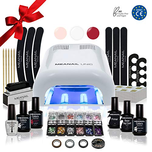 Lampara LED UV Secador de Uñas Esmalte Semipermanente Pintauñas Decoración de Uñas Kit Manicura y Pedicura Nail Factory Edition Deluxe White
