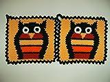 1 Paar Topflappen Eule, apricot orange rot, gehäkelt Handarbeit Vogel Vögel Waldtier Eulen