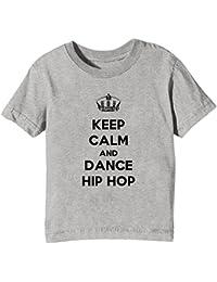 Keep Calm and Dance Hip Hop Enfants Unisexe Garçon Filles T-Shirt Cou D'équipage Gris Coton Manches Courtes Toutes Les Tailles Kids Unisex Boys Girls Grey All Sizes