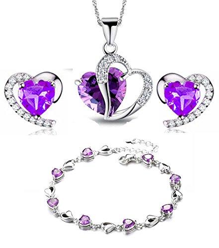 hyst blaue Kristall-Herz-Form Cubic Zirkon Set Ohrringe und Anhänger Halskette / Silberarmband (f1682) (lila Anhänger + Ohrring + Armband) ()