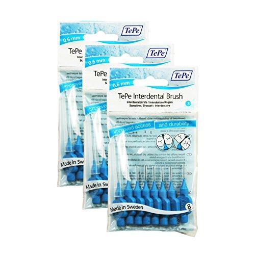 TePe - Interdentalbürsten mit Oral-Zahnseide - 3 Pakete von 8 (24 Bürsten) (Blau 0.60mm)