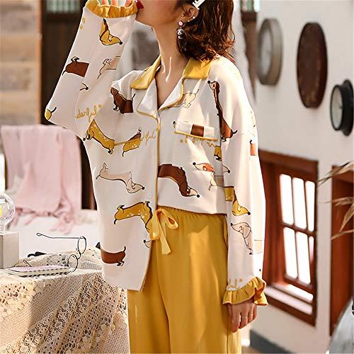 DUJUN Pijama Mujer de Algodón Invierno Otoño Mangas Larga Ropa,Manga Larga de algodón XL Suelta A-3 L