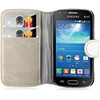 Samsung Galaxy Trend Plus Lederhülle | JAMMYLIZARD Handyhülle [ Retro Series ] Ledertasche Flip Case Cover Hülle Leder Schutzhülle mit Kartenfach, Cappuccino