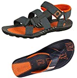 #3: Tempo Men's Combo of Grey Orange Sandals & Blue Orange Slippers