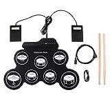 Murphytonerty Aufrollbares Schlagzeug-Set, elektronisch, tragbar, USB-Trommel, faltbar, Silikon, integrierte Lautsprecher, Fußpedale, Drumsticks, Black Drum, 43 * 28 * 2.7cm / 16.9 * 11 * 1.1in