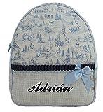 Mochila o bolsa infantil personalizada con nombre en plastificado con estampado de trineos. Varios colores disponibles (Marino/Celeste)