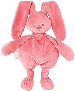 Nattou  Lapidou Conejo de peluche , Compañero desde el nacimiento, 36 cm, Rosa coral