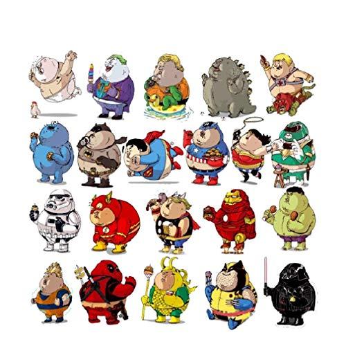 SetProducts ⭐Top Aufkleber! ⭐ Set von 32 Übergewichtige Superhelden Aufkleber - Premium Qualität - Vinyls Stickers Nicht Vulgär – Bomb, Graffiti, Superfat - Anpassung, Scrapbooking, Bullet Journal