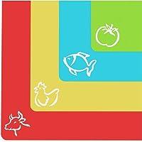 Cooler Kitchen   Set 4 taglieri di plastica flessibile con spessore  ndash  nbsp Tappetini con simboli di cibo e parte posteriore con sistema antiscivolo a reticolo quot EZ Grip quot