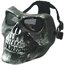 Wwman - Máscara para uso deportivo (ideal para airsoft o juegos de guerra), diseño de calavera, plata
