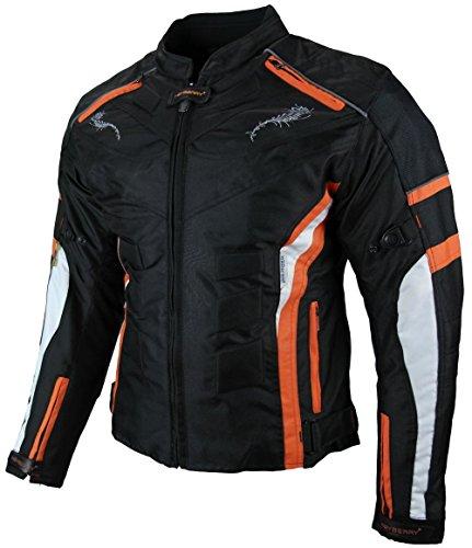 *Heyberry Damen Motorrad Jacke Motorradjacke Textil Schwarz Orange Gr. M / 38*
