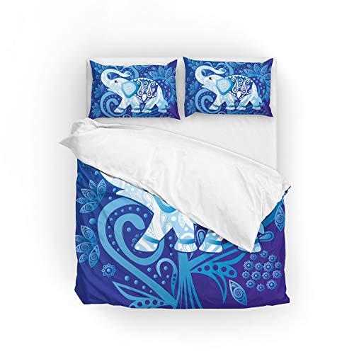 Jeansame Bettwäsche-Set, Bettbezug und Kissenbezug, Elefant, Mandala, Blumen-Design, für Kinder, Jungen, Mädchen, Damen, Herren, Multi, Twin - Männer Twin Bettbezug