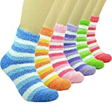 PINKIT Women's Woollen Winter Warm Feather Slipper Bed Fuzzy Socks Without Thumb (Skin, Free Size) -Pack of 4 Pairs